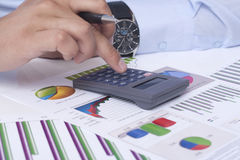 Calculating the financial situation Stock Image