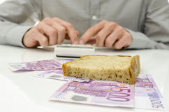Calculating food expenses Stock Images