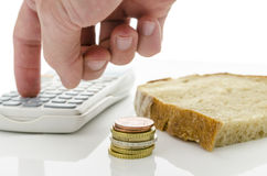Calculating food expenses Royalty Free Stock Image