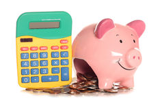 Calculating home finances. Studio cutout Royalty Free Stock Photos
