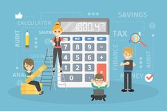 Calculating the income. Calculating the income or debts to pay. People using calculator Stock Photo