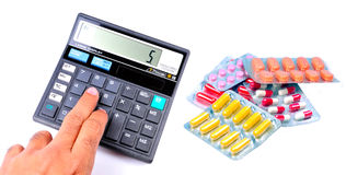 Calculating medical expenses Royalty Free Stock Images