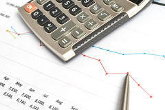Calculating in the Office on the Desk Royalty Free Stock Photos