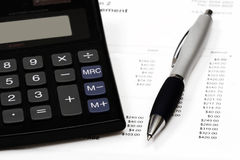 Calculating payments stock photo