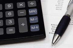Calculating payments stock photography