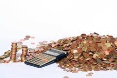 calculating pengar Arkivfoton