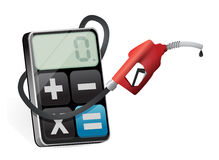 Calculating profits with a gas pump nozzle Stock Image
