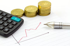 Calculating progress of savings. On the diagram Royalty Free Stock Image