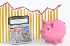 Calculating Savings concept. 3D rendering Royalty Free Stock Photography