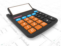 Calculating taxes concept. 3D render illustration of the concept of calculating taxes. The calculator is isolated on a large spreadsheet with expenses Stock Photos
