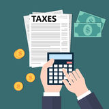 Calculating taxes. Flat style illustration Stock Images