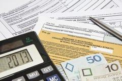 Calculating taxes in Poland Royalty Free Stock Photos