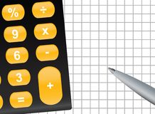 Calculation. Illustration of calculator and pen with copyspace Stock Photo