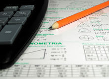 Calculation. Calculator pencil and formulae mathematical Stock Photography