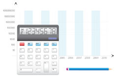 Calculation business. Business calculation, the calculator, pencil and schedule Royalty Free Stock Images