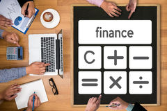 Calculation Business finance Investment Accounting Banking Budge. T Calculator ,  pressing calculator buttons and  documents , savings, finances, economy Royalty Free Stock Image