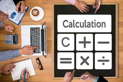 Calculation Business finance Investment Accounting Banking Budge. T Calculator ,  pressing calculator buttons and  documents , savings, finances, economy Stock Photo