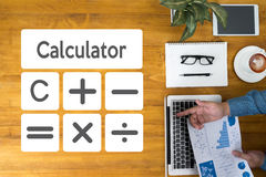 Calculation Business Investment Accounting Banking Budget Calcul. Ator ,  pressing calculator buttons and  documents , savings, finances, economy  alculator Stock Image
