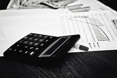 Calculation calculations of monetary relations. Money for success in business. stock images