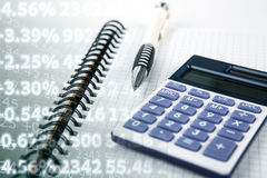 Calculation of cash earnings and digits Stock Images