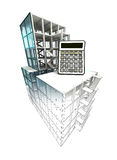 Calculation concept of architectural building plan finishing Royalty Free Stock Photo