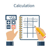 Calculation concept. Businessman. Stock Images