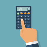 Calculation concept, icon. Calculation concept icon. Hand with a calculator. Businessman accountant . Flat design, Vector Illustration. Isolated on background stock illustration