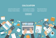 Calculation concept. Tax accounting. Financial analysis analytics, planning statistics research. Businessmen hands on the desk. Calculation concept. Tax Stock Photo