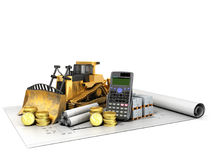 Calculation of construction crawler excavator coins construction. Materials calculator 3d render on white background Stock Photo