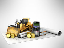 Calculation of construction crawler excavator coins construction. Materials calculator 3d render on gray background Royalty Free Stock Image