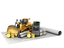 Calculation of construction crawler excavator coins construction. Materials calculator 3d render on white background no shadow Royalty Free Stock Image
