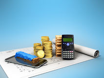 Calculation of construction 3D rendering on a blue background. Image close up Stock Photo
