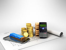 Calculation of construction 3D rendering on a gray background. Image close up Royalty Free Stock Photos