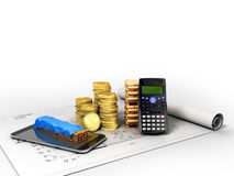 Calculation of construction 3D rendering on a white background. Image Royalty Free Stock Photography