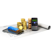 Calculation of construction 3D rendering on a white background n. O shadow Stock Image