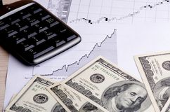 Calculation of earnings on the stock birzhe. Stock Images