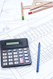 Calculation of electrical scheme Royalty Free Stock Photos