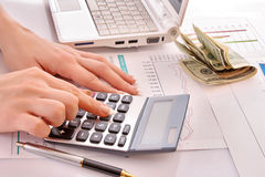Calculation of finance Stock Images
