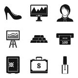 Calculation of finance icons set, simple style Stock Photography
