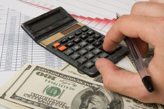 Calculation of finances diagrams Royalty Free Stock Photo