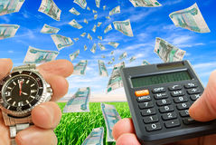 Calculation of financial gain. Royalty Free Stock Photography