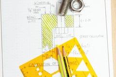 Calculation of flange bolt Stock Photos