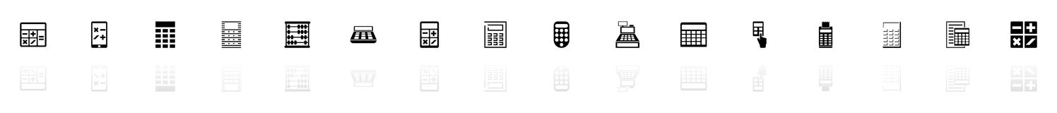 Calculation - Flat Vector Icons. Calculation icons - Black horizontal Illustration symbol on White Background with a mirror Shadow reflection. Flat Vector Icon Royalty Free Stock Photo