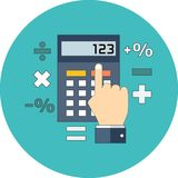 Calculation, mathematics, accountant concept. Flat design. Icon in turquoise circle on white background stock illustration