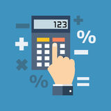 Calculation, mathematics, accountant concept. Flat design. Stock Image