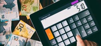 Calculation of money Stock Image