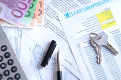 Calculation of mortgage loan top view Royalty Free Stock Image