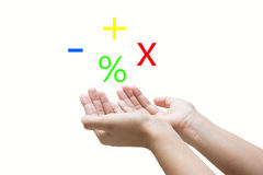 Calculation. A pair of cupped hands above which are symbols for addition, multiplication, subtraction and percentage, concept of calculation, white background Stock Image
