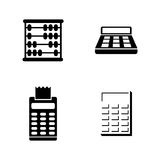 Calculation. Simple Related Vector Icons. Set for Video, Mobile Apps, Web Sites, Print Projects and Your Design. Black Flat Illustration on White Background Stock Image