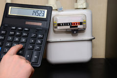 Calculation of utility bills on the counter Stock Photography